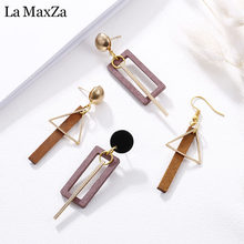 Natural Wood Drop Earrings for Women Fashion Statement Golden Geometric Strips Dangle Earring Ear Korean Girls Jewelry Gift(China)