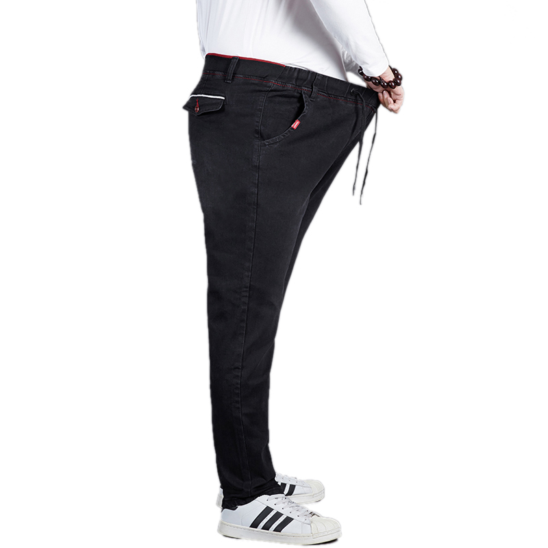 New Arrival Casual Loose Jeans Men Elastic Waist Stretch Big Size Straight Male Denim Pants Spring Autumn Cotton Black Overalls