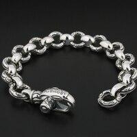 925 Sterling Silver Gothic Eagle Chain Mens Biker Rock Punk Bracelet 8F001
