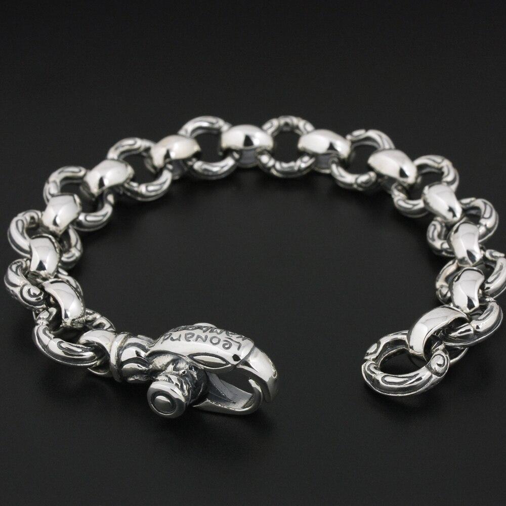 Bracelet Punk en argent Sterling 925 avec chaîne gothique aigle 8F001