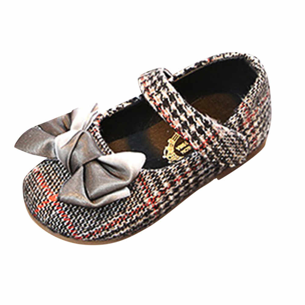 תינוק ילדי ילד בנות Bowknot נעלי נסיכת משובץ מזדמן אחת נעל