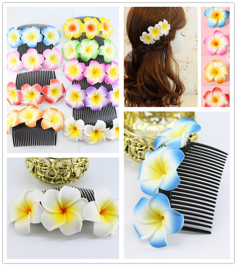 5x New fashion 9 kinds of color you choose Fabulous Hawaii Plumeria flowers Foam Frangipani Flower comb clip bridal hair clip