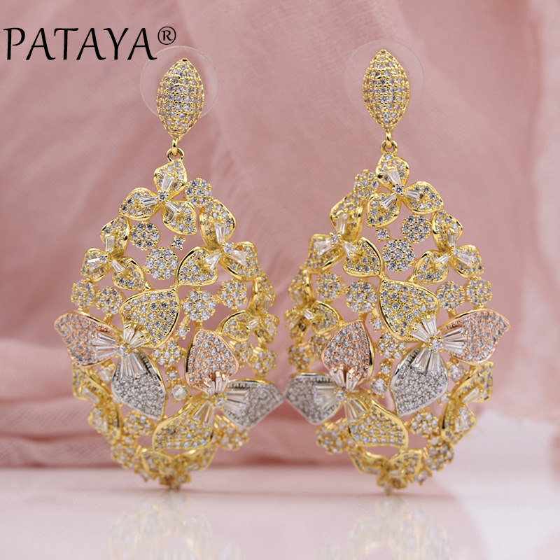 PATAYA New Tricolor Petals Natural Zircon 585 Rose Yellow White Gold Long Stud Earrings Women Wedding Party Noble Luxury Jewelry