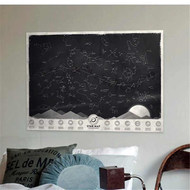 1 Piece Vintage Glow In the Dark Night Sky Stars Map Poster Noctilucent Constellation Wallpaper Sticker Map Decal soto pocket torch