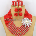 Tomato Red Crystal Beads Necklace Set Flower Nigerian Wedding Beads Jewelry Set African Women Jewelry Set Free Shipping GS052