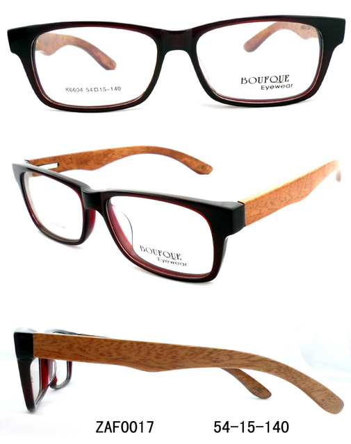b97ffb605e New fashion wood optical frames acetate framework with nature wooden arms  big square for unisex glasses