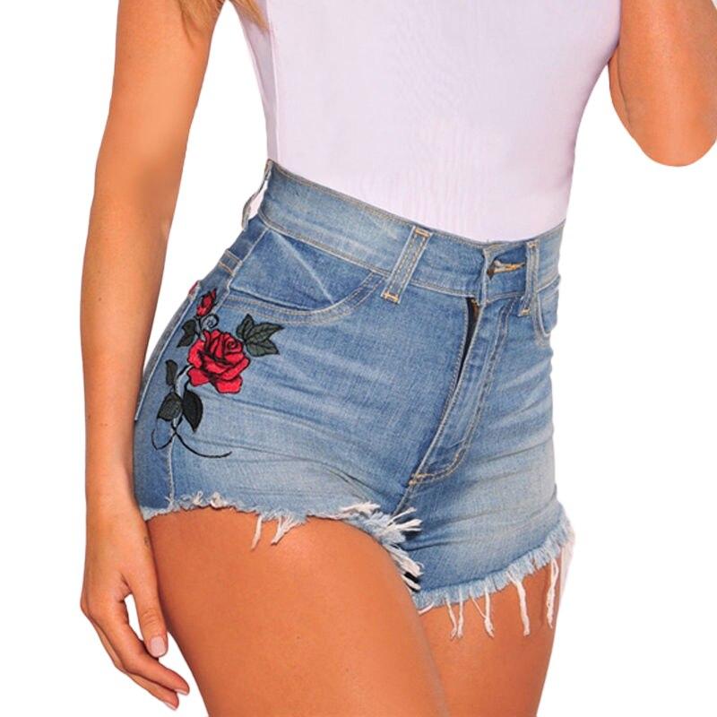 100% QualitäT Vintage Floral Bestickten Shorts Mode Frauen Rose Blume Stickerei Shorts Elastische Hohe Taille Denim Jeans Retro Kurze
