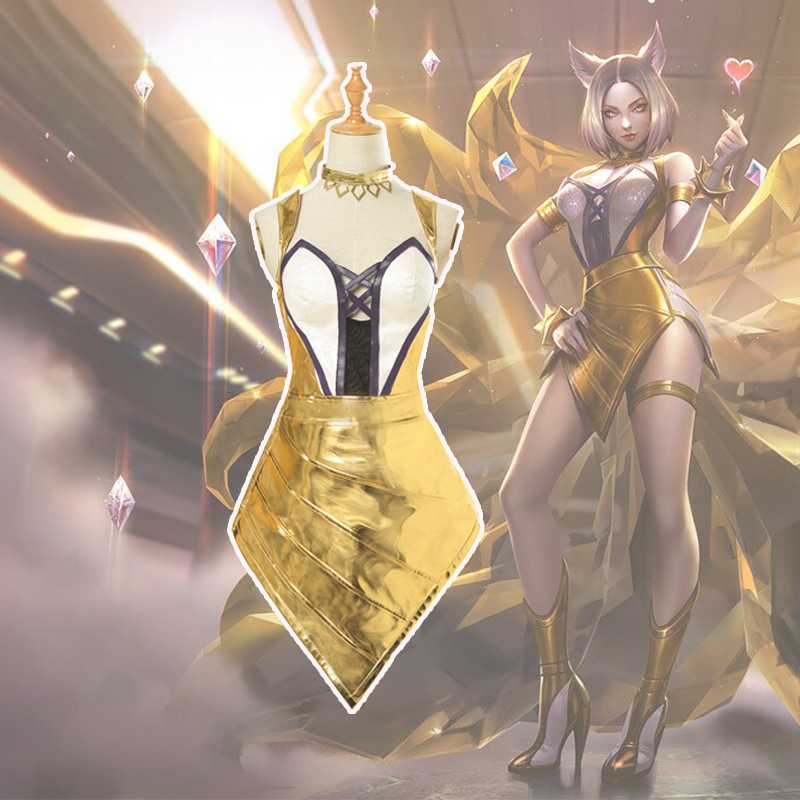 LOL Cosplay Game LOL K/DA Prestige Edition Ahri Golden Sexy Dress Halloween Carnival Party Cosplay Costume