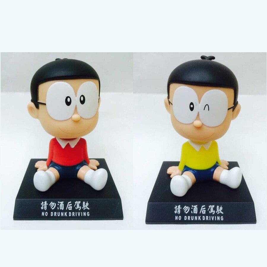 Doraemon Cute Cartoon Nobita Nobi Car Decoration 12cm Kids Toys Anime PVC Action Toy Figures Free shipping GS047