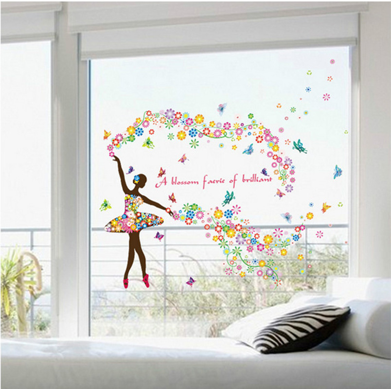 Colorful ballerina wall decals girls baby room decor for Ballerina wall mural