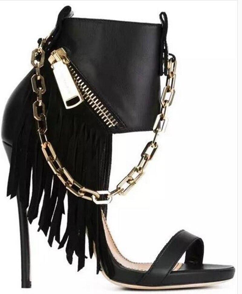 Talon Gladiateur Conception Glands Wrap Chaîne Sandales Robe Haute Sangle Une Western Cheville Bottes Femmes Mode Chaussures Style qxXnFYO