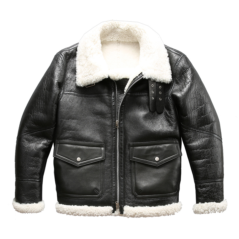 WT Read Description! Asian Size Super Quality Warm Genuine Sheep Fur Leather Jacket Mens Winter Shearling Fur Jacket