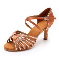 Latin dance shoes for girl women lady's Rhinestone ballroom professional Salsa tango party dancing shoes heeled about 7cm/5cm