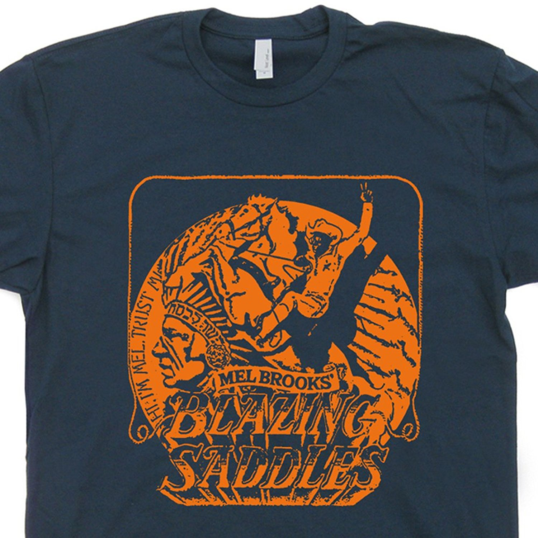 Gildan Blazing Saddles T Shirts Funny Cult Movie Poster Novelty Humor Vintage Retro 80s Tee Shirtmandude