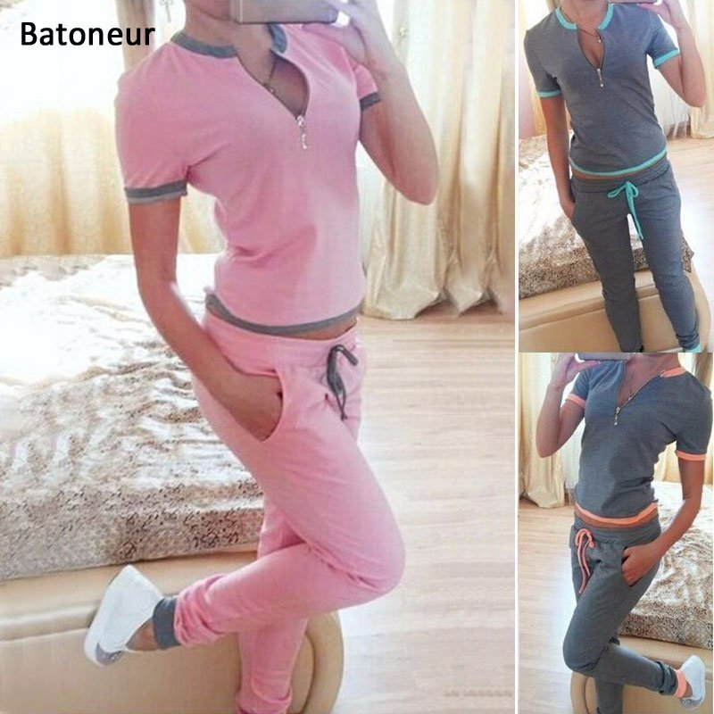Suit Women Short Sleeve Pullover Tops +Pants Set Tracksuit Sportswear Sets Summer Two Piece Clothes ...