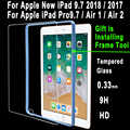 Top 0.33mm 9H HD Tempered Glass for Apple New iPad 9.7 2018 2017 iPad Air 1 2 Pro 9.7 5 6 5th 6th Generation Screen Protector