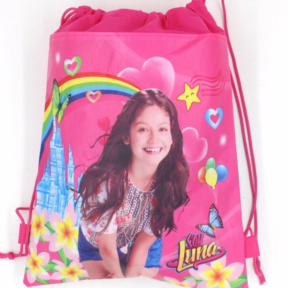 1 шт. 36*25 см соевый Luna нетканые Ткань Drawstring Сумки Baby Shower счастливые День рождения украшения поставки