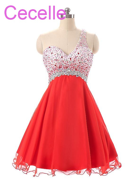 Juniors Red Short   Cocktail     Dresses   2019 Beading Chiffon Skirt One Shoulder Sparkly Girls Informal Prom Party Gowns Real Photo