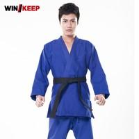 Top Quality New Men Jiu Jitsu Judo Bjj Gi Kung Fu Clothes Male Blue Kendo Aikido Cotton Sportswear Plus Size Artes Marciales Set