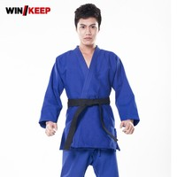 Top Quality New Men Jiu Jitsu Judo Bjj Gi Kung Fu Clothes Male Blue Kendo Aikido Cotton Sportswear Plus Size Artes Marciales Set