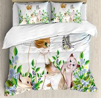 Cat Duvet Cover Set ,Kittens in Flower Meadow Field Happy Cats Family with Butterfly Kids Cartoon Print, 4 Piece Bedding Set