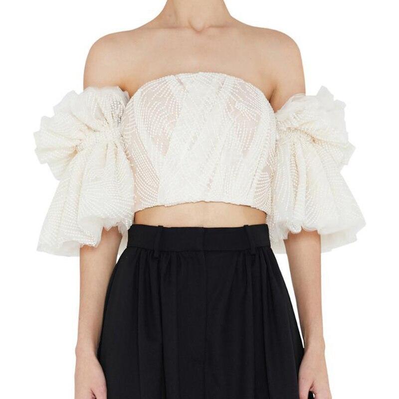 Tops Shirt Flare Mode D'été Maille Sexy De Encolure Apricot Femmes Manches Nanastyle Pour Bretelles Vêtements Broderie Ruches Chemise Courtes NywvO0m8nP