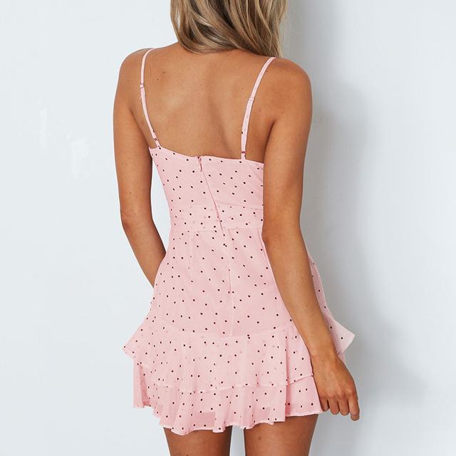 Polka dots chiffon blush pink summer dress
