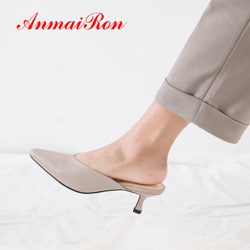 ANMAIRON 2019 New Arrival  Genuine Leather  Solid Med High Slippers  Spring/Autumn  Outside  Womens Shoes Size 34-40 LY2208ANMAIRON 2019 New Arrival  Genuine Leather  Solid Med High Slippers  Spring/Autumn  Outside  Womens Shoes Size 34-40 LY2208