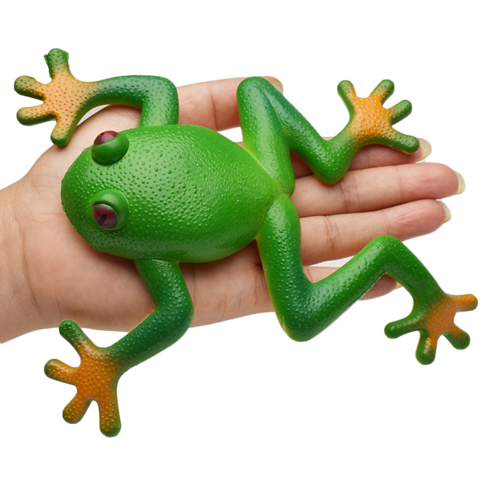 Frog Tricky Toy Squishy Frog Toy Simulation Soft Stretchable Rubber Frog Model Spoof Vent Toys For Children Kids Adults Jokes image