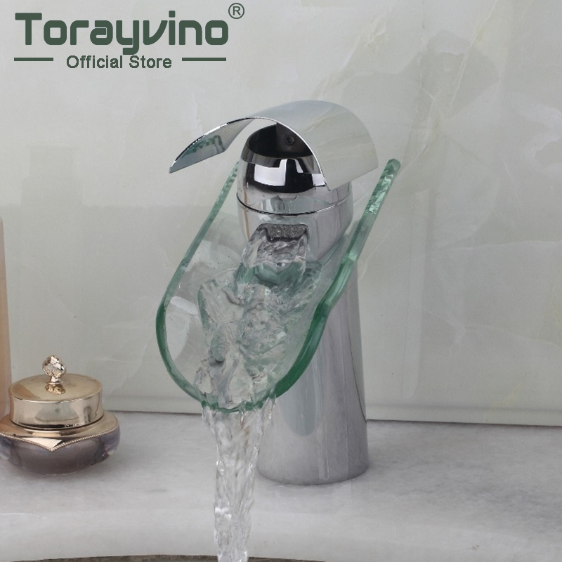 Torayvino Bathroom Sink Polished Chrome Glass Waterfall Bathroom Basin Faucet Single Handle Hot&Cold Water Mixer Tap