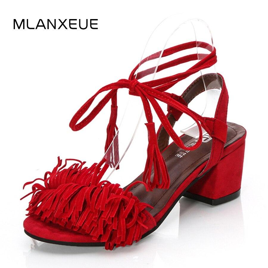 MLANXEUE Plus Size Tassel Sandals Women 2018 Heels Sandalias Femininas Bandage Sandal New Fashion Summer Shoes Lady Shoes женские блузки и рубашки hi holiday roupas femininas blusa blusas femininas