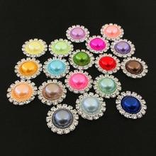 Модные 18 цветов 18 мм Жемчуг Стразы Кристалл DIY Свадебные украшения пуговицы для шитья аксессуары
