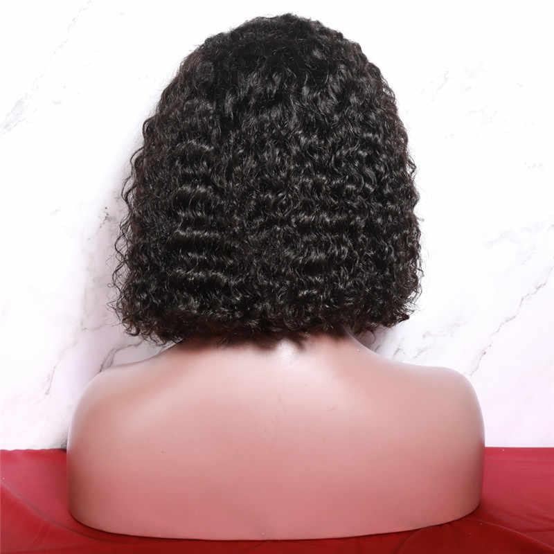 ALITOP кудрявый парик фронта шнурка человеческих волос Парики Короткий парик-Боб полный и толстый с волосами младенца естественного цвета бразильские волосы remy