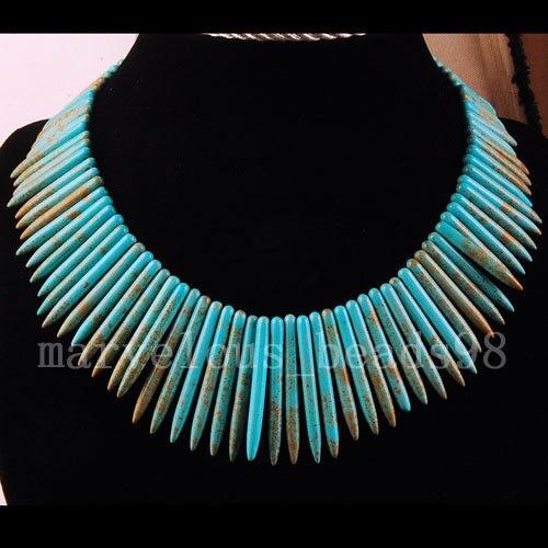 Free Shipping Fashion Jewelry Needle Blue Howlite Beads Necklace 18