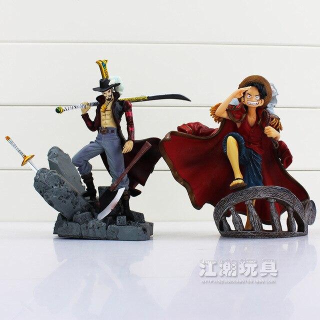 One Piece Luffy Dracule Mihawk PVC Action Figure toy Anime 15CM A303