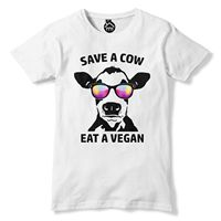 Save a Cow Eat a Vegan T Shirt Funny Novelty Animal Chill Mens Womens Kids 354 free shipping cheap tee Fashion Style Men Tee