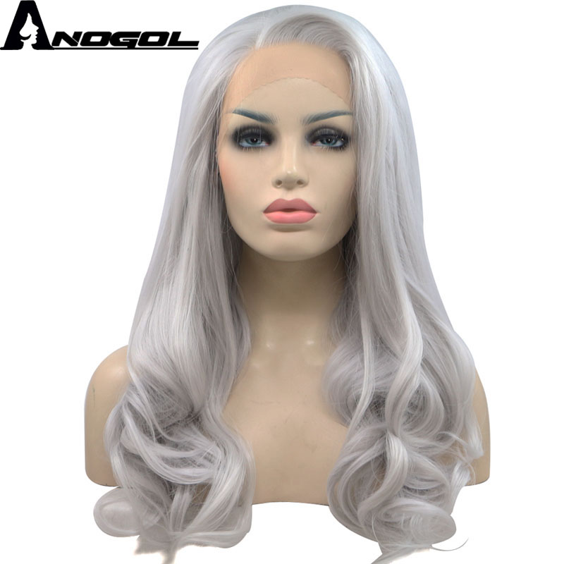Anogol Free Part Long Natural Wavy High Temperature Fiber Silver Grey Synthetic Lace Front Wig For
