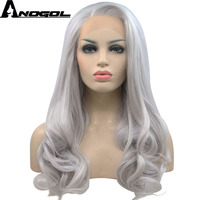 Anogol Free Part Long Natural Wavy High Temperature Fiber Silver Grey Synthetic Lace Front Wig For Women Girls