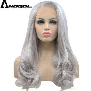 Image 2 - Anogol ücretsiz kısmı uzun doğal dalgalı yüksek sıcaklık Fiber gümüş gri sentetik dantel ön peruk kadınlar için