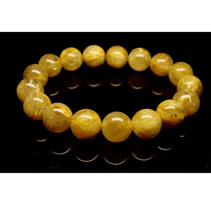 Discount Wholesale Natural Genuine Yellow Golden Needle Rutile Quartz Finished Stretch Bracelet Round Jewelry beads 12mm 01860