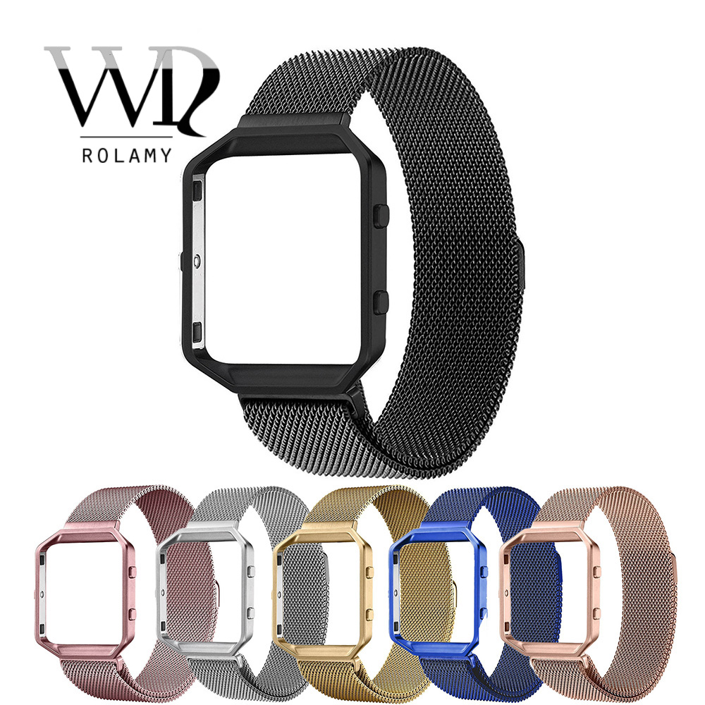 Rolamy Replacement Milanese Steel Watchband Strap Loop bracelet Magnetic Closure With Case Frame For Fitbit Blaze 23 watch in Watchbands from Watches