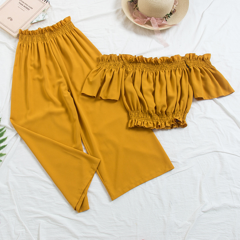 New 2018 Beach Two Piece Sets Clothes Women Sexy Slash Neck Crop Top Wiht Loose Pants Suits Summer Woman 1