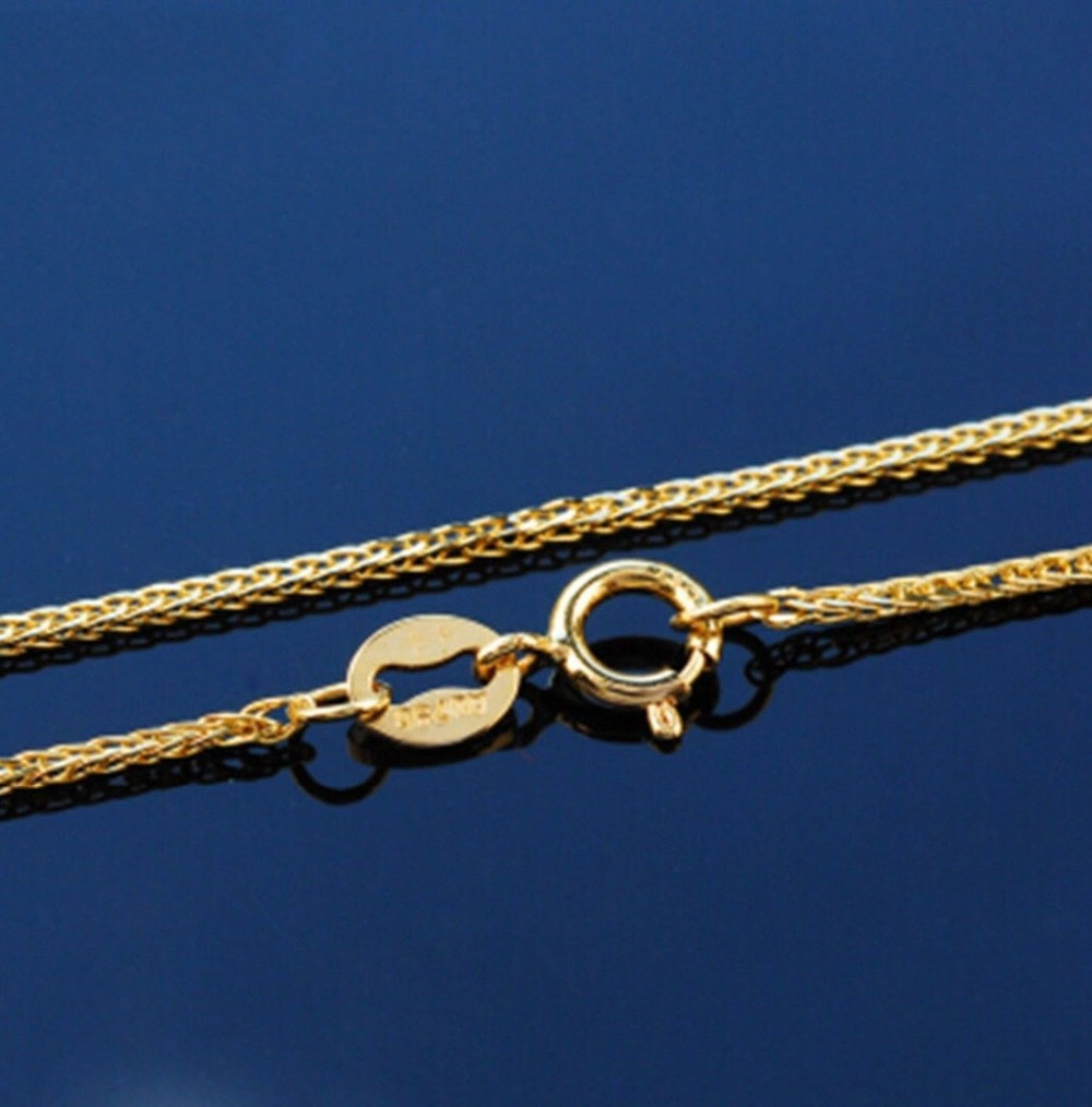 Image 2 - Fine Au750 Real 18K Yellow Gold Chain Women Wheat Link Necklace 18inch-in Necklaces from Jewelry & Accessories