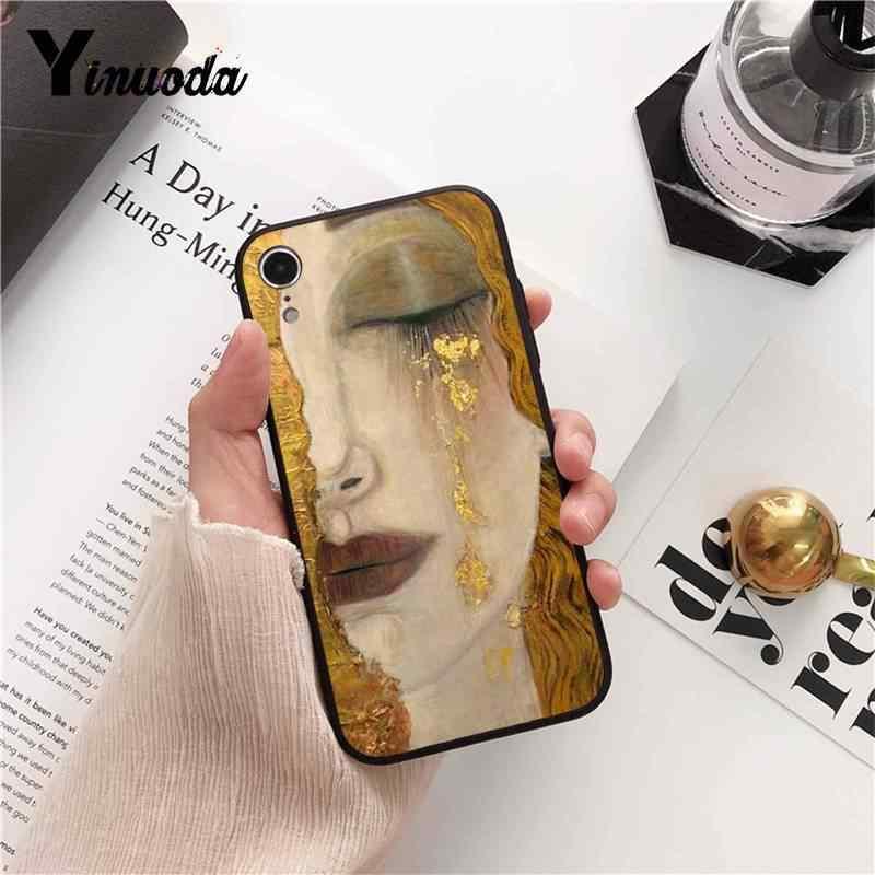 Yinuoda Nụ Hôn do Gustav Klim Vàng Nước Mắt Cây Thuyền Tranh Đen Ốp Lưng Điện Thoại cho iPhone 8 7 6 6 S 6 Plus 5 5S SE XR X XS MAX