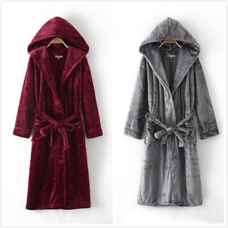 Women Winter Warm Hooded Robe Solid Sleepwear Kimono Bathrobe Long Nightgown Home Dressing Gown Flannel Night Dress Nightwear