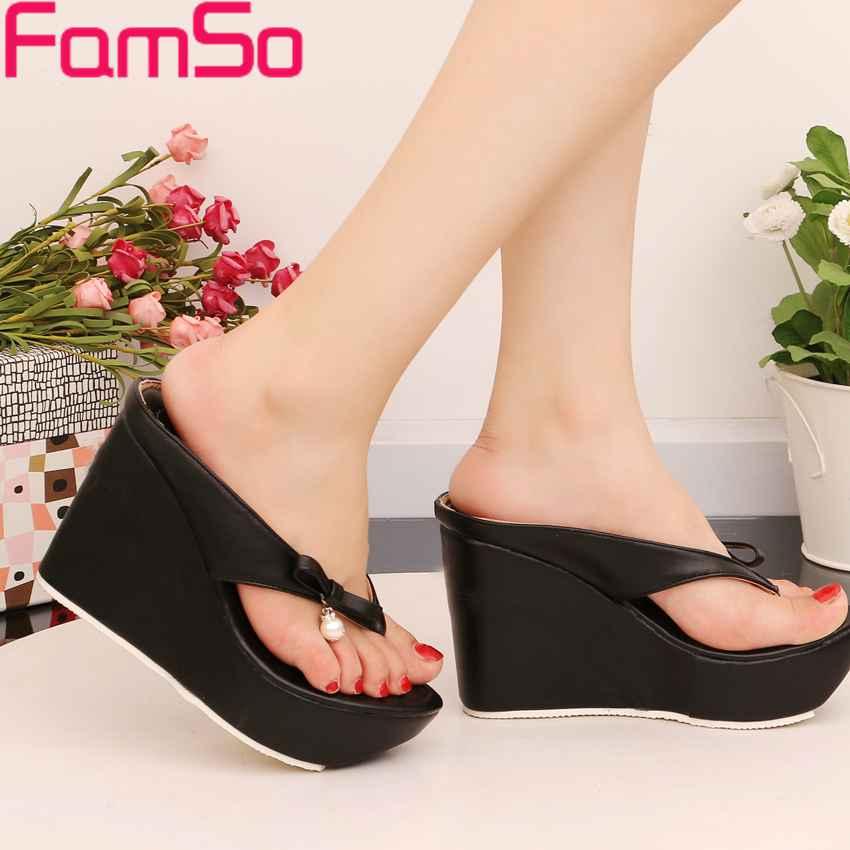 Plus Size34 43 2016 New Fashion font b Women b font Slides Black Flip Flops Shoes