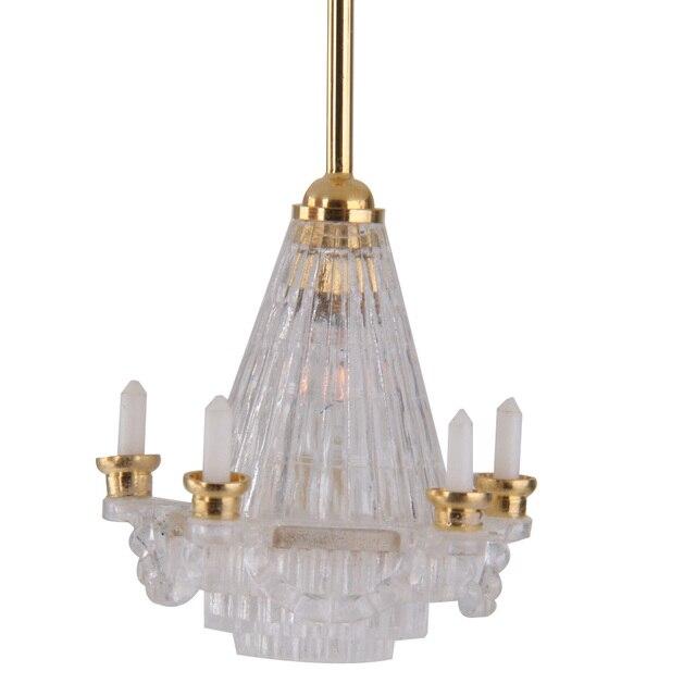 Poppenhuis Miniatuur 12 V LED Kroonluchter Plafond Verlichting Lamp ...