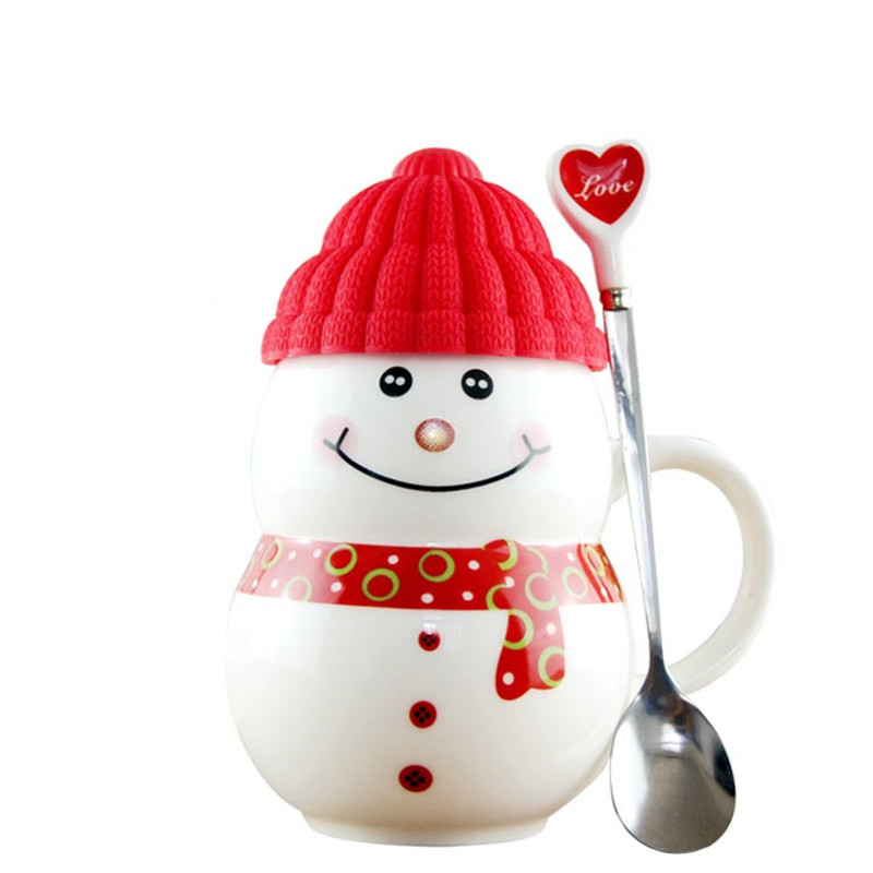 2017 Creative Snowman Mugs with Spoon Coffee Mug Milk Cups Ceramic Tea Cup for Xmas Birthday Gift Christmas Gifts My Bottle