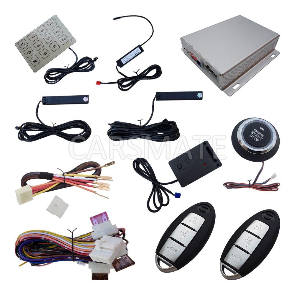 Upgraded PKE Car Alarm System With Shock Sensor Passive Keyless Entry Remote Start Engine Password Entry