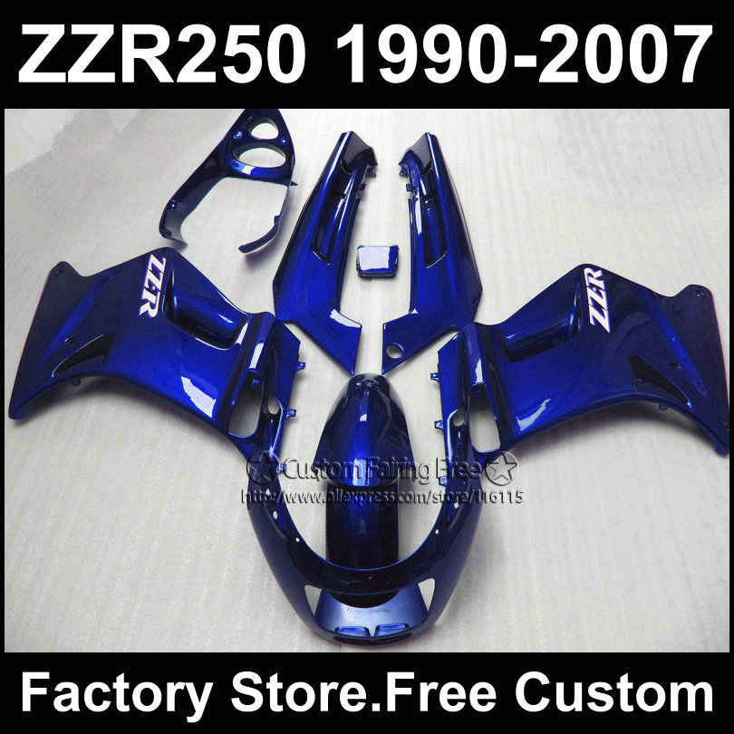 Custom free factory fairings set for Kawasaki ZZR-250 ZZR250 1990 1992 2007 ZZR 250 90-07 full blue motorcycle fairing body kits